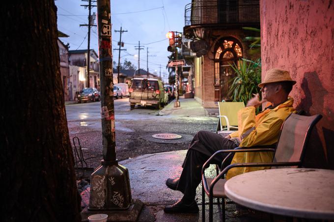 street portrait of man smoking a cigarette