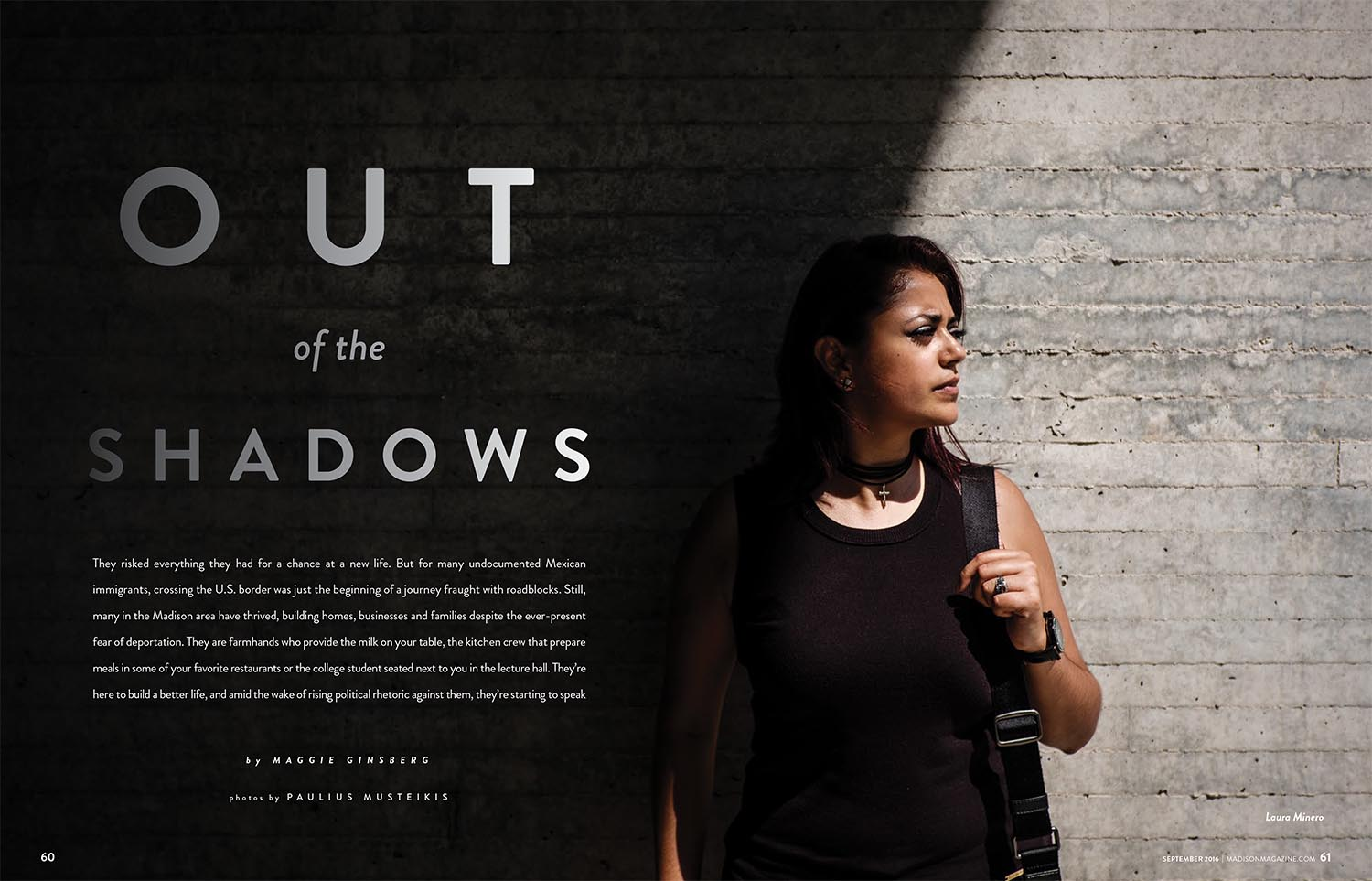dramatic portrait of Latino American woman next to the concrete wall near UW-Madison campus