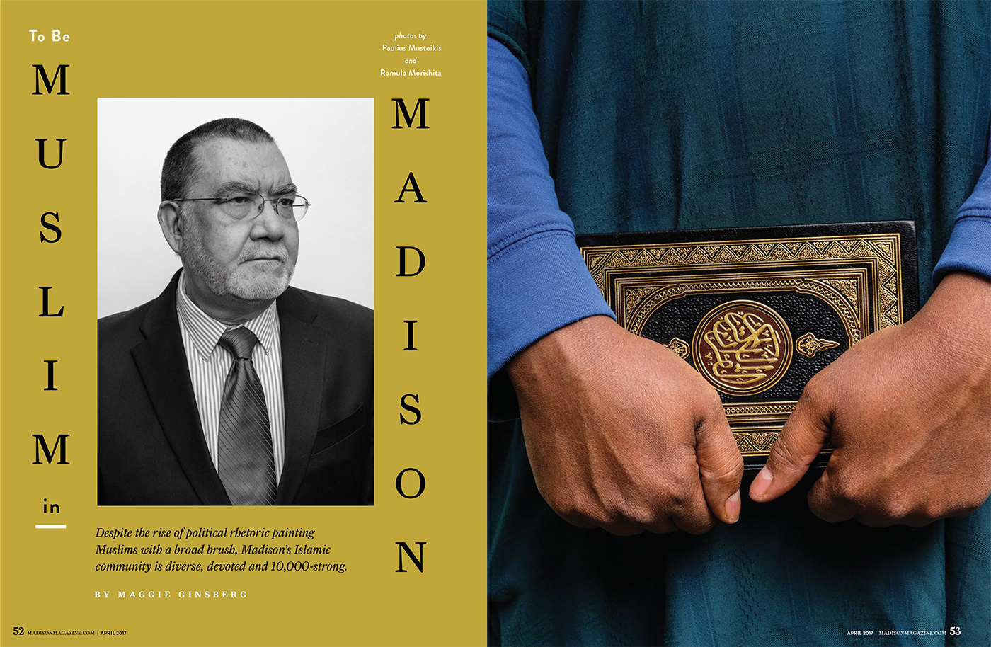 "dramatic portrait of Madison Wisconsin electrical engineer Mohammed Monawer for Madison Magazine 2017 editorial story ""Muslim in Madison"""
