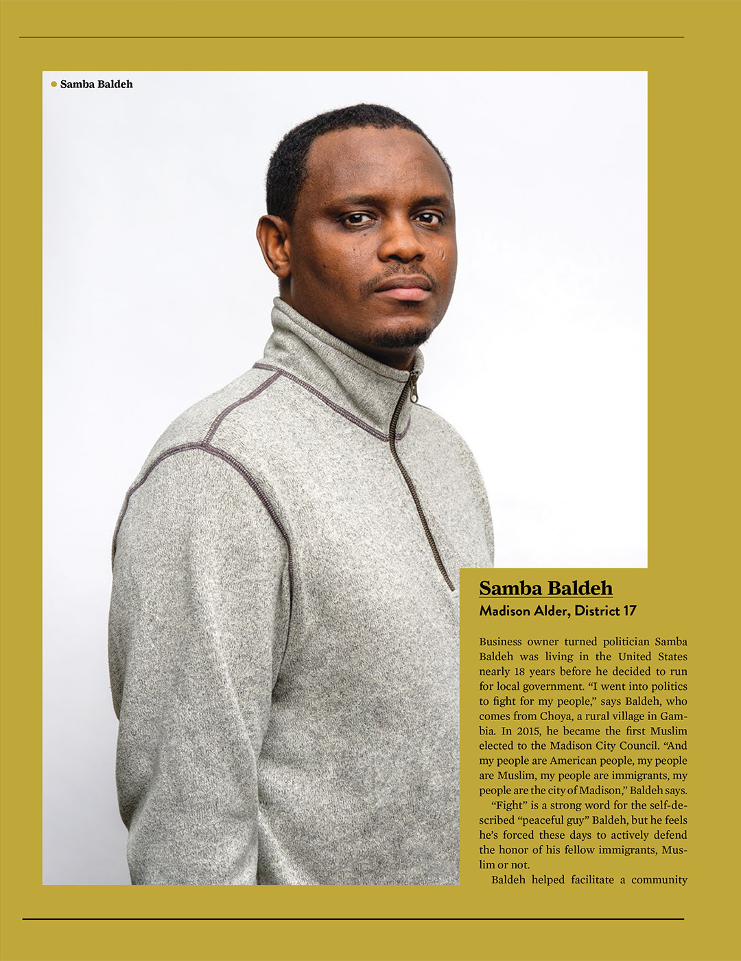 professional studio portrait of African American businees owner. photographed for Madison magazine