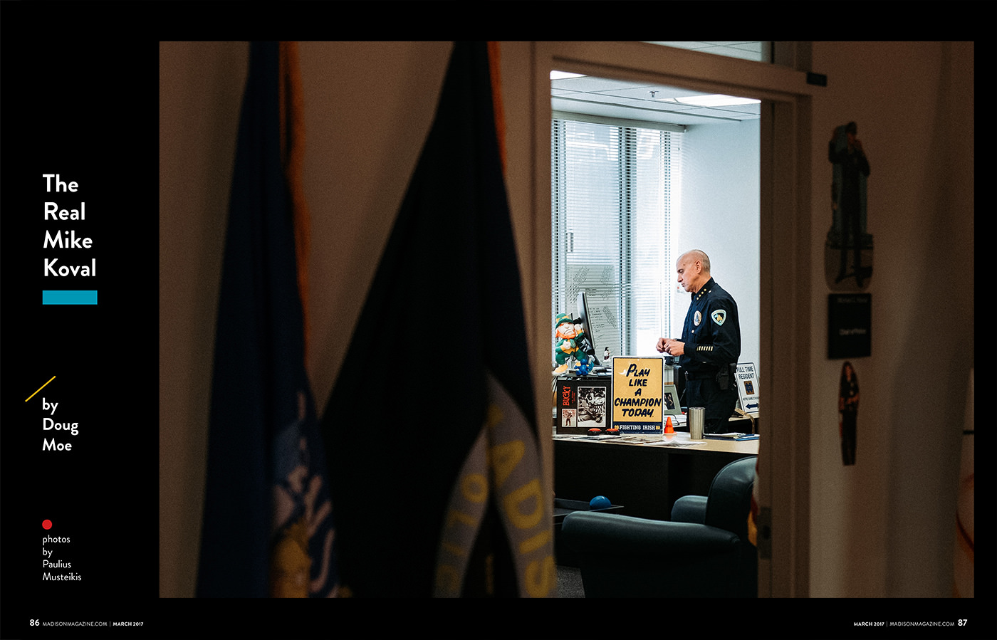 editorial portrait of Madison police chief Mike Koval in his office