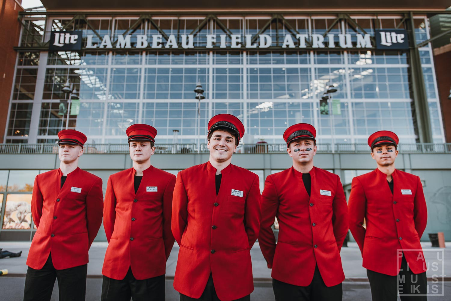 Marriott Rewards concierges during corporate event photography in front of Lambaeu Field in Green bay