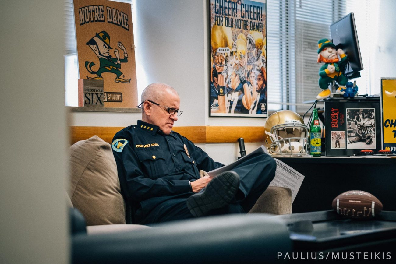 business portrait of Madison WI police chief Mike Koval in a his office at Madison Police Department