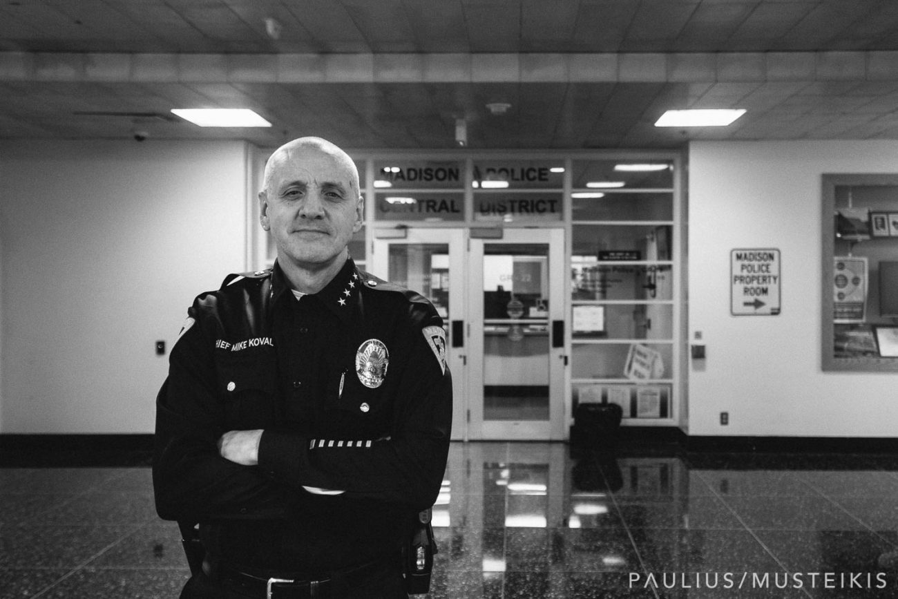 business portrait photography of Madison Wisconsin police chief Mike Koval