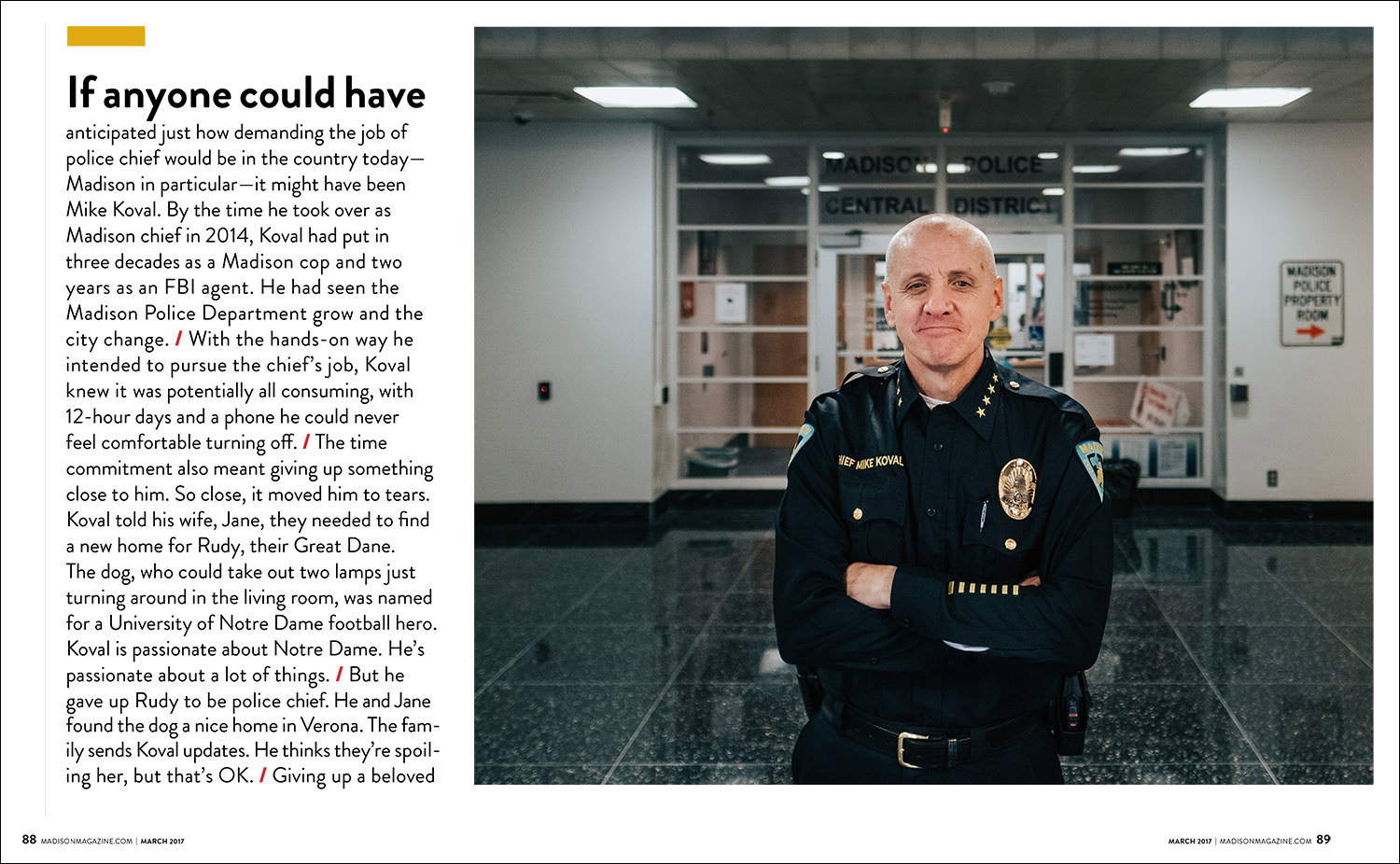 editorial photography tear sheet from magazine showing portrait of Madison police chief Mike Koval at the Madison Police Department entrance