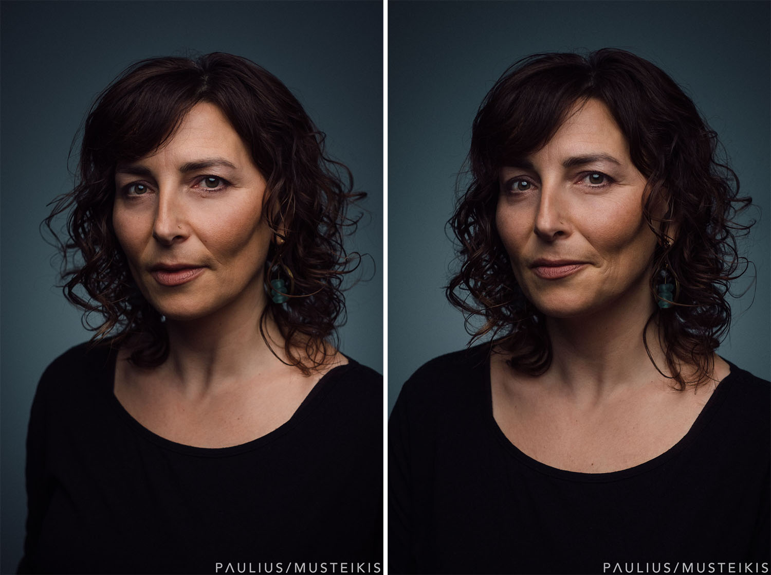 two casual headshots for website of a middle age woman