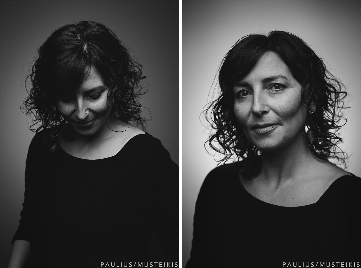 two black and white studio headshots for website of an award-winning writer
