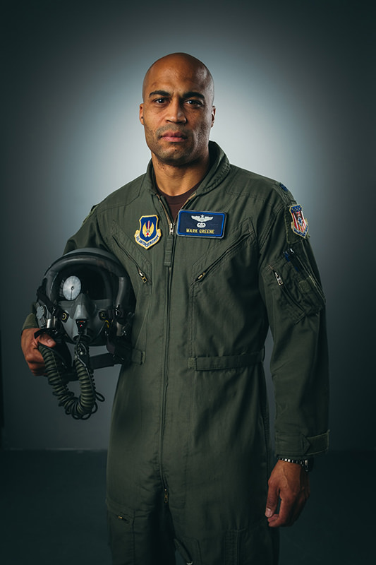 portrait of a jet pilot in professional photography studio Madison WI