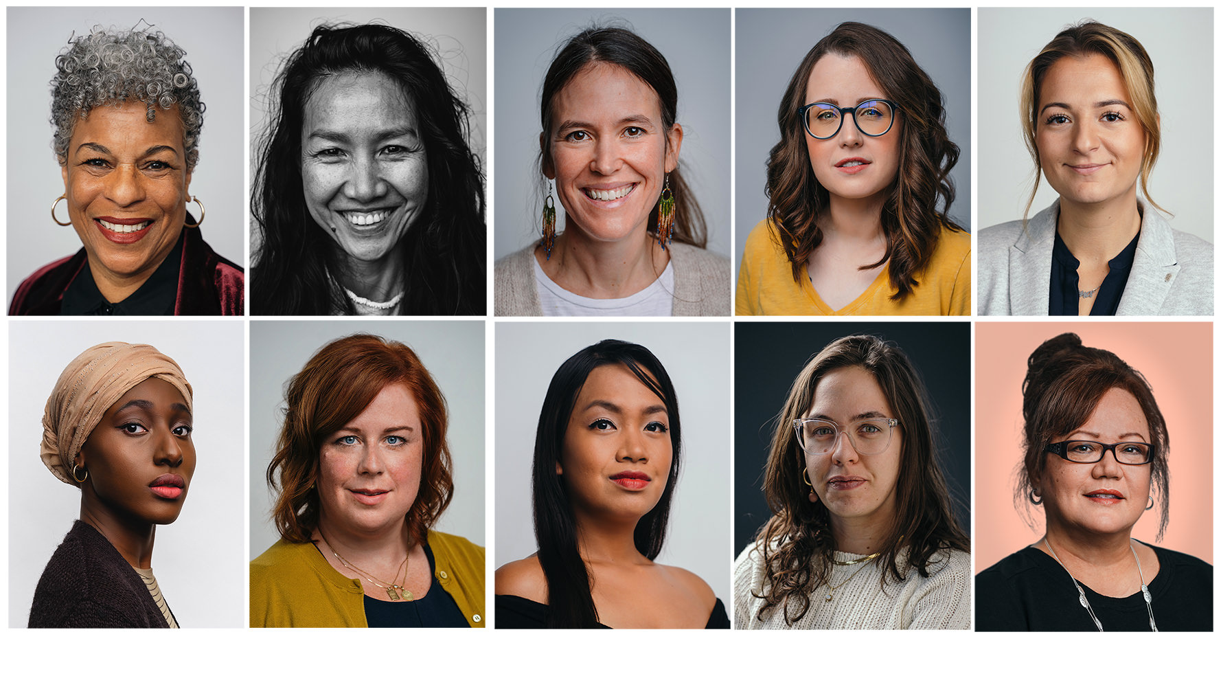 Professional business headshots of women
