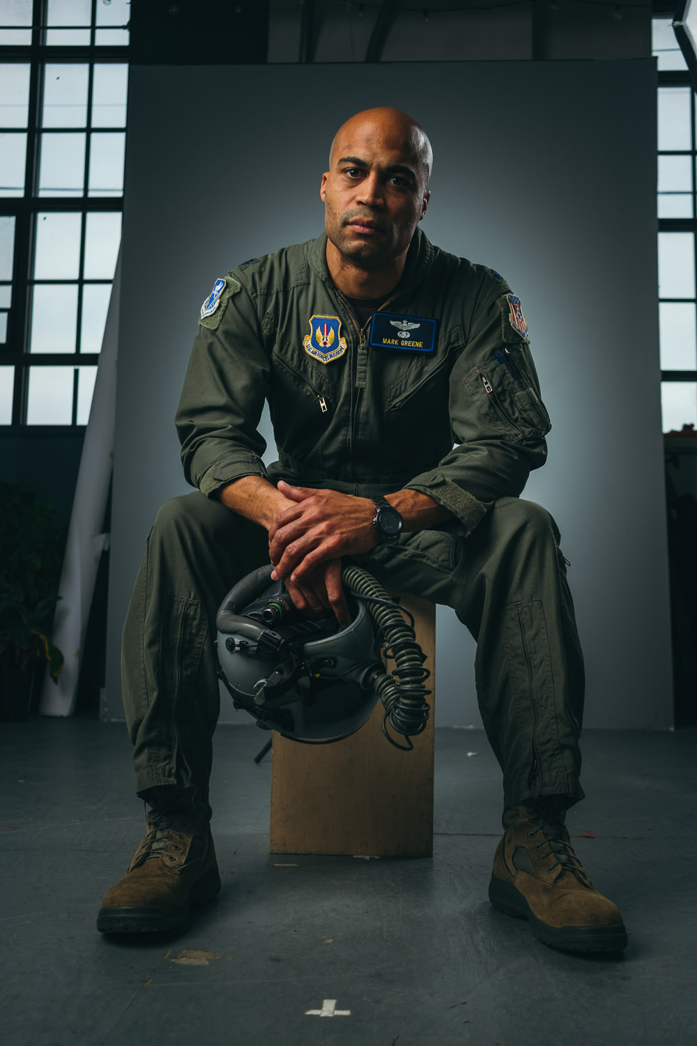 Dramatic in-studio portrait of an active US Air force pilot