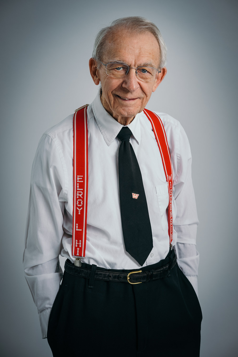 studio portrait of University of Wisconsin Madison marching band Director Mike Leckrone