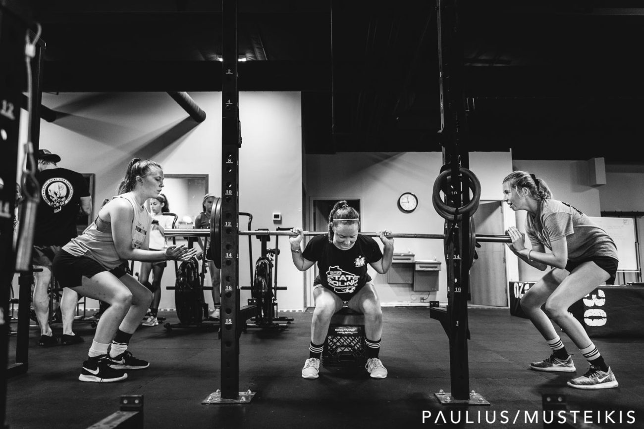 visual identity photography of high school students doing power lifting